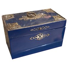 Antique Blue Lacquered Tea Caddy