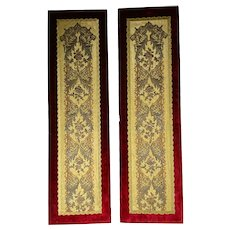 Pair of Gold and Silver Embroidered Panels Lined On Side With Red Velvet