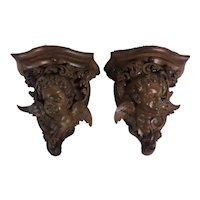 Pair Of Cherub Wall Brackets With Wings