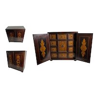 Italian Inlaid Wood Marquetry Collectors Cabinet