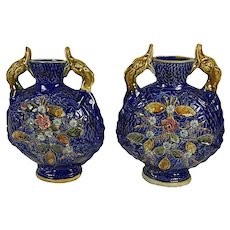 Pair Of Blue Porcelain Vases With Dolphin Handles
