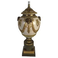 English Adam Style Porcelain Lamp With Raised Rams Heads And Gilded Swags