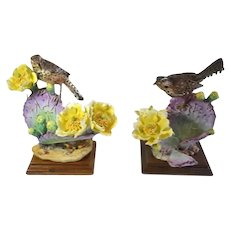 Cactus Wren And Prickly Pear Porcelain Birds