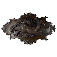 Black Forest Carved Deer Plaque