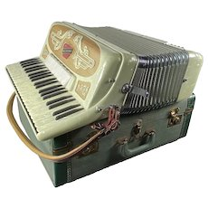 Suitcase Accordion With Faux Mother of Pearl Keys