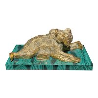 Russian Gilt Bronze Bear Resting On A Raised Malachite Base