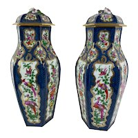 English Worcester Vases With Lids - A Pair