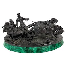 Bronze Sculpture on Oval Malachite Base