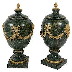 Italian Porphyry Vases With Bronze Dore Mounts - A Pair