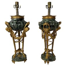 A Pair Of Verde Antico Marble Urns As Lamps After Pierre Gouthiere
