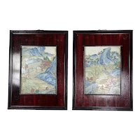 Chinese Famille Rose Hand Painted Enameled Porcelain Plaques - A Pair