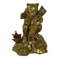 Gilt Bronze Dore Bear Inkwell