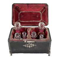 English Perfume Caddy With Six French Cranberry Glass Bottles