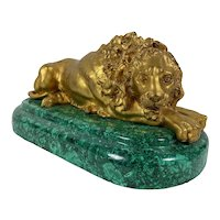 Bronze Dore Russian Lion On Malachite