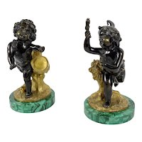 Pair of Bronze Figures On Malachite Bases
