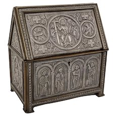 Hand Carved 19th Century Pewter And Wood Box