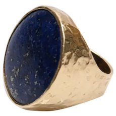 18K Yellow Hammered Gold Blue Lapis Ring