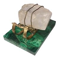 Russian Gilt Bronze Sled On Malachite Base