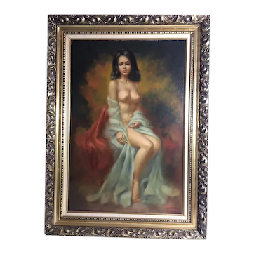 "Mid Century Boudoir Style Painting By Larry ""Vincent"" Garrison"