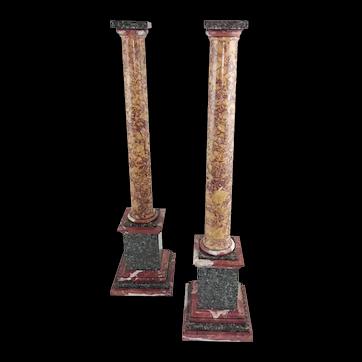 Grand Tour Marble Columns- A Pair