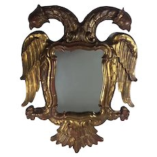 "Carved Giltwood Mirror In The Shape Of A "" Two-Headed-Eagle"""