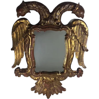 """Carved Giltwood Mirror In The Shape Of A """" Two-Headed-Eagle"""""""