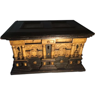 17th Century Alabaster and Ebonised Wood Casket Malines Coffer