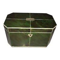 Regency Faux Green Tortoiseshell and Bone Tea Caddy