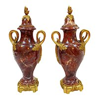 Red Languedoc Marble Urns - A Pair