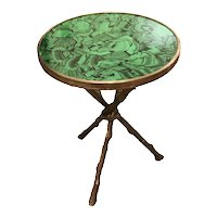 Faux Malachite Finish Bronze Cross Stretcher Gueridon Table