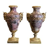 Pair Of French Breche Violette Marble Urns With Gilt Rams Heads And Swags