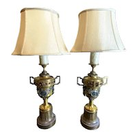 Unusual And Rare Pair Of Gilt Metal Urns With Jewels And Swags As Lamps