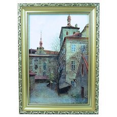 V. Jansa Czech Print Photo-Chromotype Old Prague St. Bartholomew Signed Framed Vintage