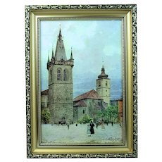 V. Jansa (Czech) Print Photo-Chromotype  Old Prague St. Henry Signed Framed Vintage