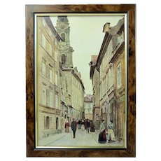 V. Jansa Czech Print Photo-Chromotype Old Prague Karmelicka Street Signed Framed