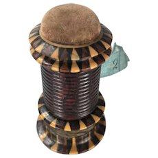 Tunbridge Ware Combination Tape Measure, Pin Cushion and Thread Waxer
