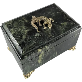 Russian Green Serpentine & Gilded Brass Lizard Trinket Box 1980s