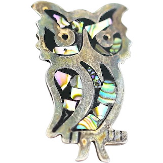 1960 Mexico Sterling Silver Abalone Shell Owl Figural Pin