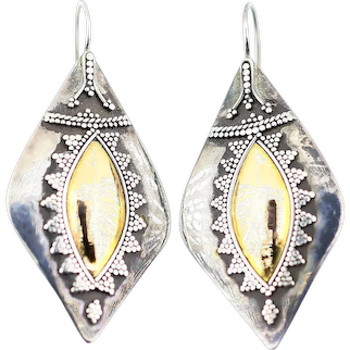 Vintage 1940s Sterling Silver With 10k Gold Beaded Marquise Shape Drop Dangle Earrings