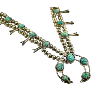 Vintage Southwestern Style Silver Blue Turquoise Squash Blossom Necklace