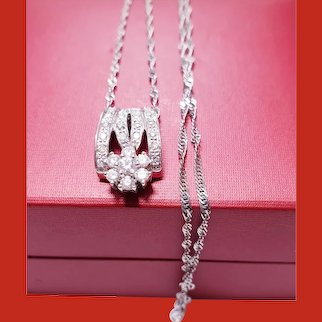 Diamond Buckle Pendant with 14kt White Gold Chain