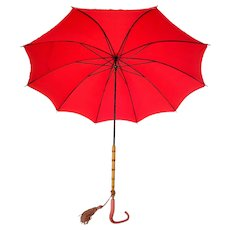 Vintage 1950s Poppy Red Umbrella Bamboo and Lucite Handle with Tassel