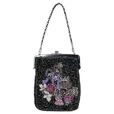 Vintage 1940s Black Iridescent Glass Hand Beaded Floral Bouquet Purse