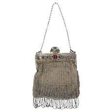 Antique Crocheted Steel Bead Fringe 1910 Art Nouveau Jeweled Clasp Bag