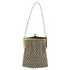 Vintage Whiting Davis Gold Metal Chain Black Mesh Link Art Deco Bag