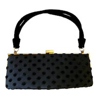 Vintage 1950s Black Polka Dot Bag