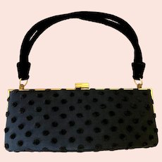 Vintage 1950s Black Polka Dot Bag