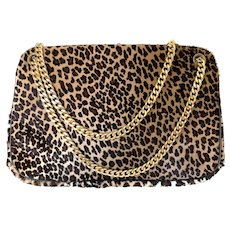 Vintage 1950s Printed Leopard Handbag with Gold Chain Handle by Morris Moskowitz