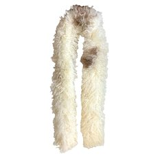 Vintage 1970s Natural Curly Cream Sheepskin Boa Fur Scarf by Mr. D'