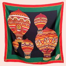 Vintage Large Gucci Silk Scarf Red Green Black Hot Air Balloon Design Italy